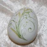 Ei-Dose, liegend ca. 8,5cm, lindgrün gestupft, mit Schneeglöckchen. 55,-€ Art.: 1217
